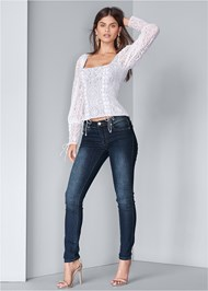 Full front view Square Neck Lace Up Top