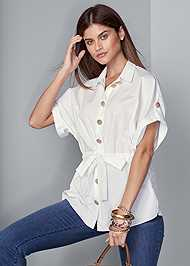 Cropped front view Button Detail Tie Front Top