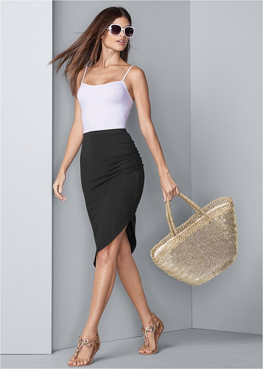 EASY MIDI SKIRT,SEAMLESS CAMI,EMBELLISHED ROPE SANDALS,STEVE MADDEN SUNGLASSES,SEQUIN AND STRAW TOTE