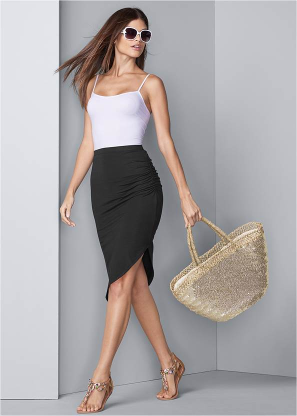 Easy Midi Skirt,Basic Cami Two Pack,Long Chain Pendant Necklace,Sequin And Straw Tote