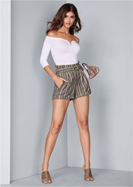 Alternate View Striped Paperbag Shorts
