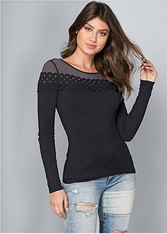 ribbed detail sweater