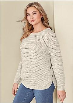 plus size button detail sweater