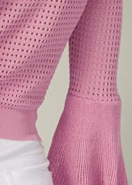 Detail back view Tiered Sleeve Sweater