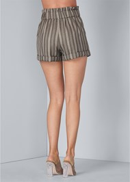Waist down back view Striped Paperbag Shorts