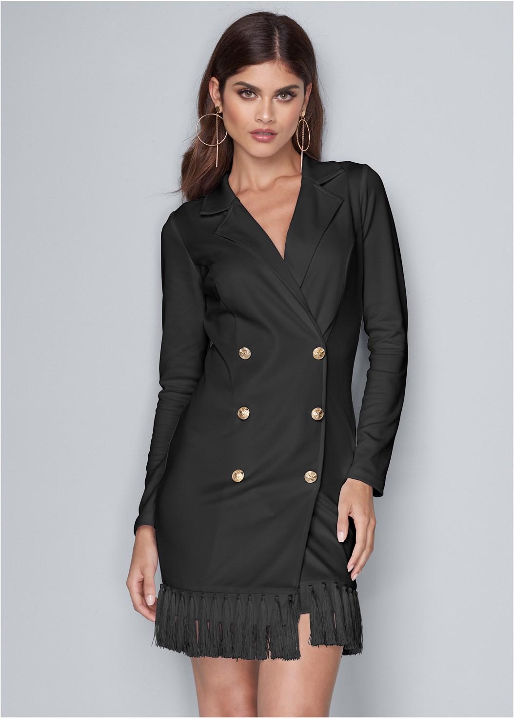 Tassel Coat Dress,Confidence Shaping Romper,Embellished Lucite Heel
