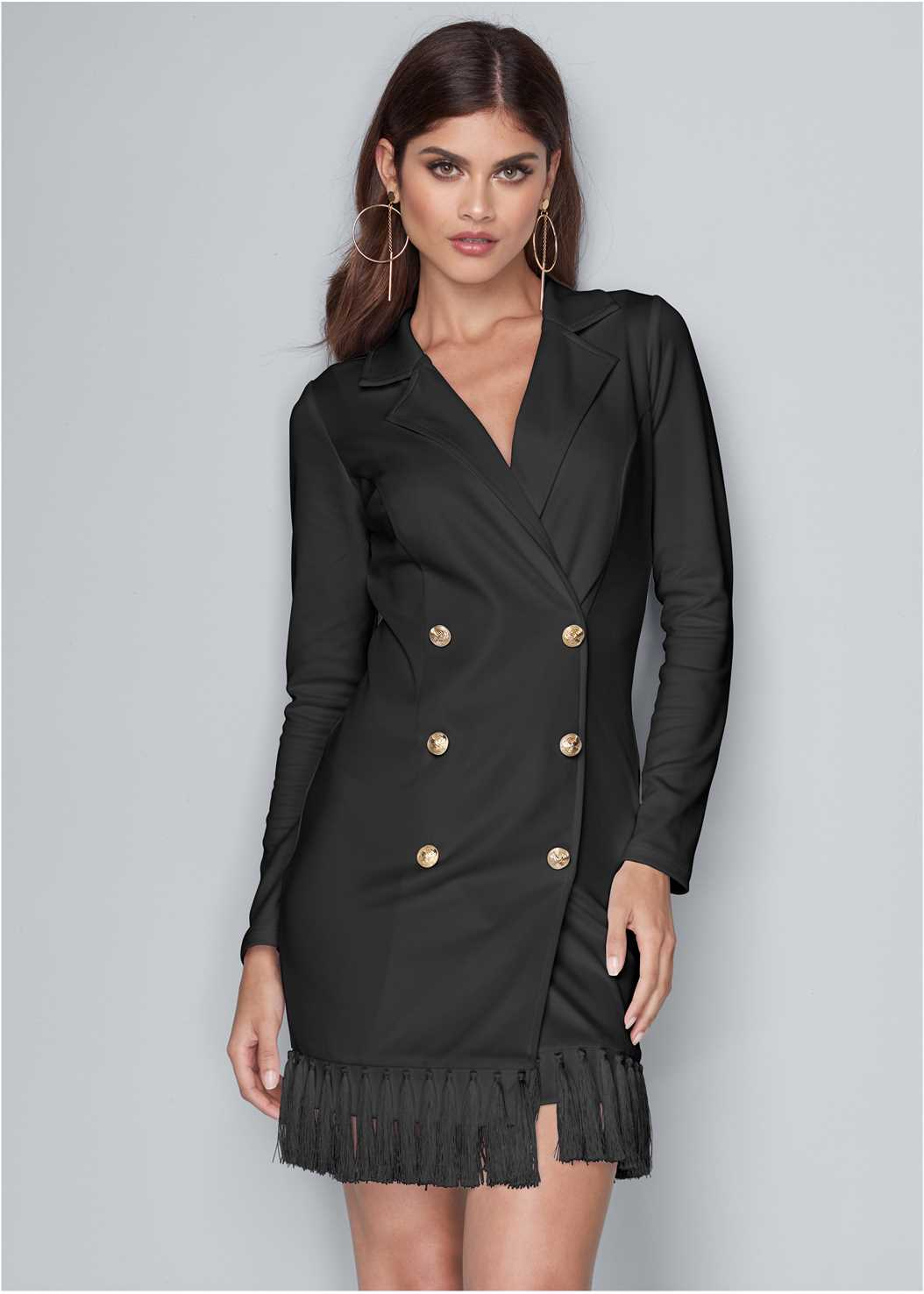 Tassel Coat Dress,Confidence Shaping Romper,Embellished Lucite Heel