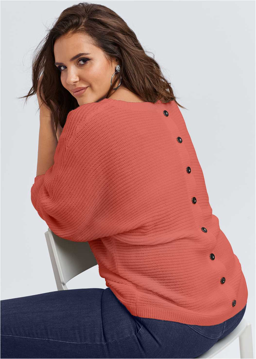 Button Back Detail Sweater,Mid Rise Slimming Stretch Jeggings