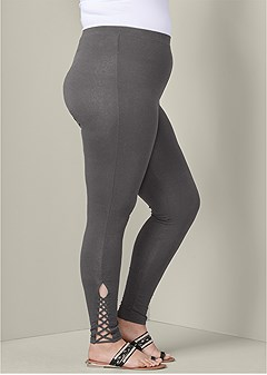 plus size ankle detail leggings