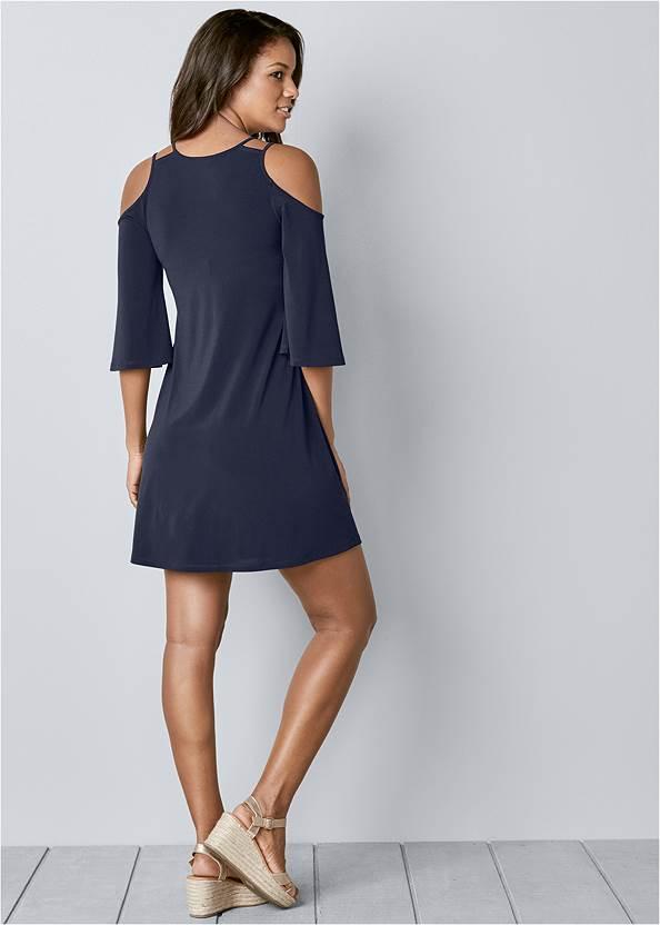 Back View Cold Shoulder Mini Dress