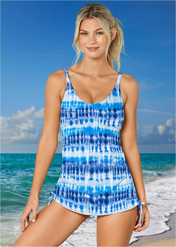 Adjustable Long Tankini Top,Full Coverage Mid Rise Hipster Bikini Bottom,Off The Shoulder Cover-Up