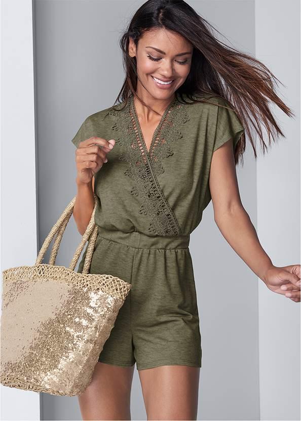 Lace Detail Lounge Romper,Push Up Bra