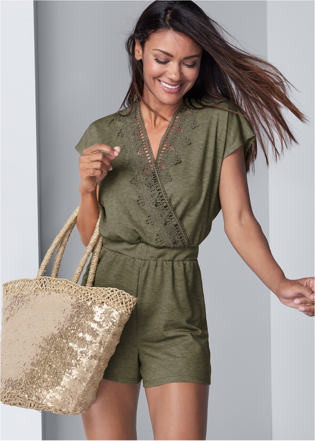 Lace Detail Lounge Romper,Push Up Bra Buy 2 For $40,Embellished Espadrilles,Sequin And Straw Tote