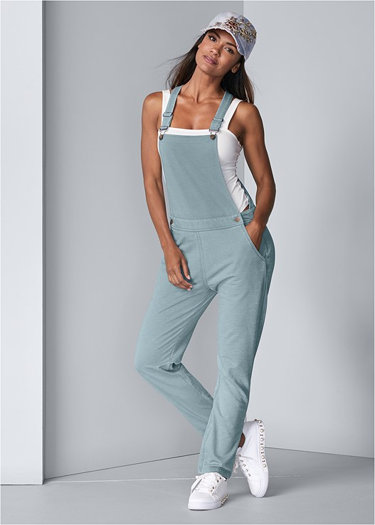 FRENCH TERRY OVERALLS,LACE TOP BRIEF 5 FOR $29,SQUARE NECK BODYSUIT,PEARL DETAIL SNEAKERS,EMBELLISHED BASEBALL CAP