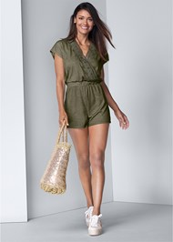 Full front view Lace Detail Lounge Romper