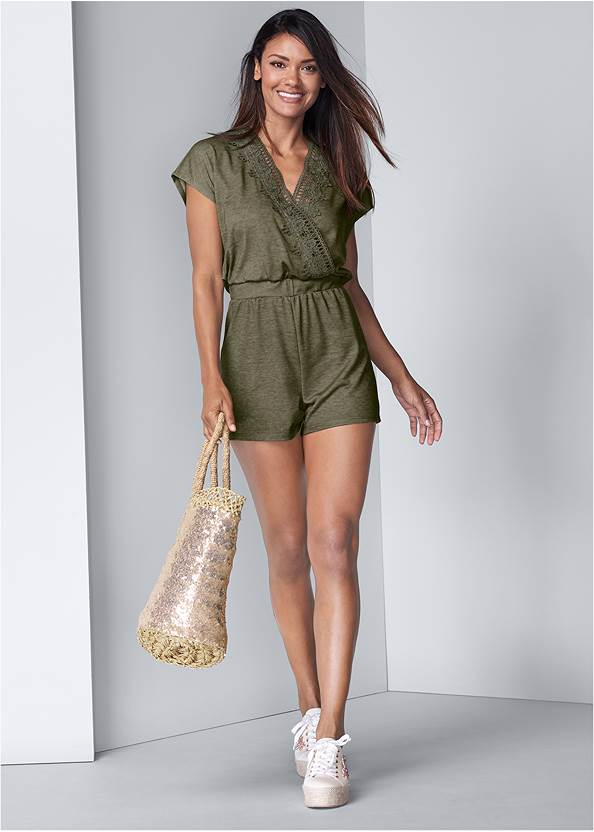 Front View Lace Detail Lounge Romper