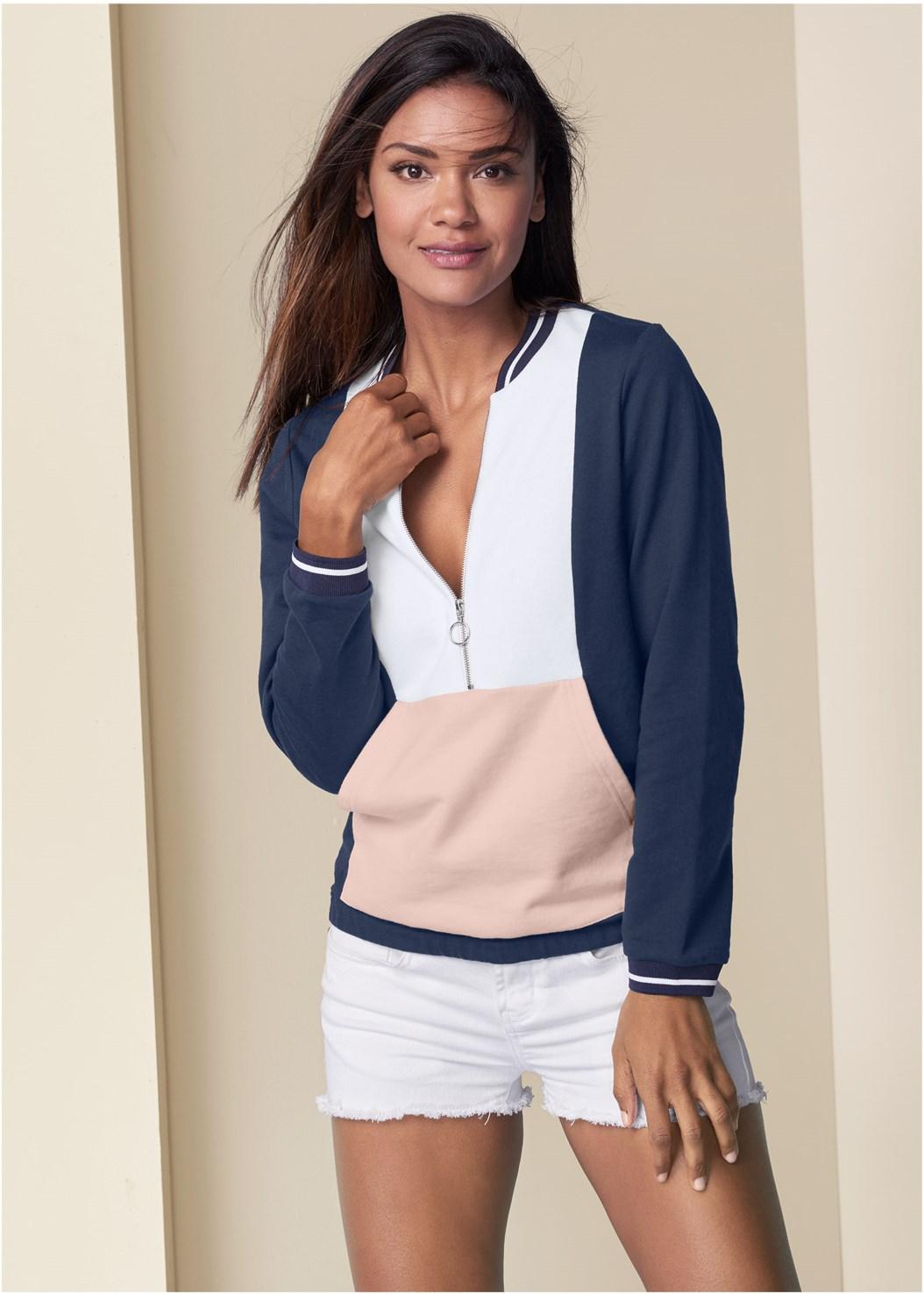 Color Block Sweatshirt,Frayed Cut Off Jean Shorts,Mid Rise Color Skinny Jeans,Naked T-Shirt Bra,Embellished Slides
