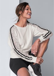 Cropped Front View Sleeve Detail Sweatshirt