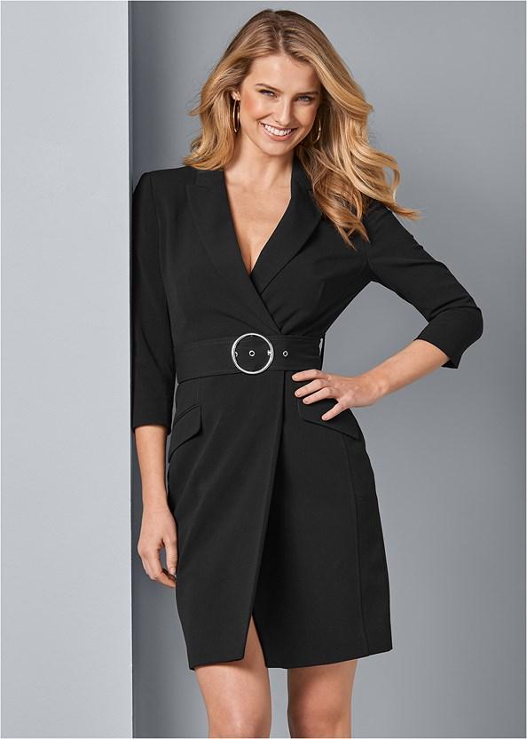 Coat Dress,Square Hoop Earrings