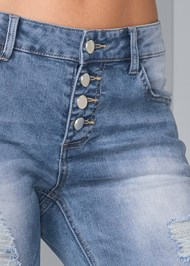 Detail front view Embellished Ripped Jeans