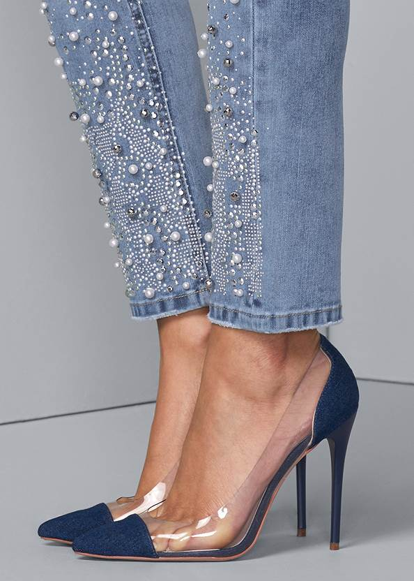 Detail side view Embellished Ripped Jeans