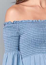 Detail front view Off Shoulder Chambray Dress