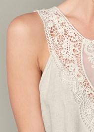 Detail front view Lace Detail Linen Dress