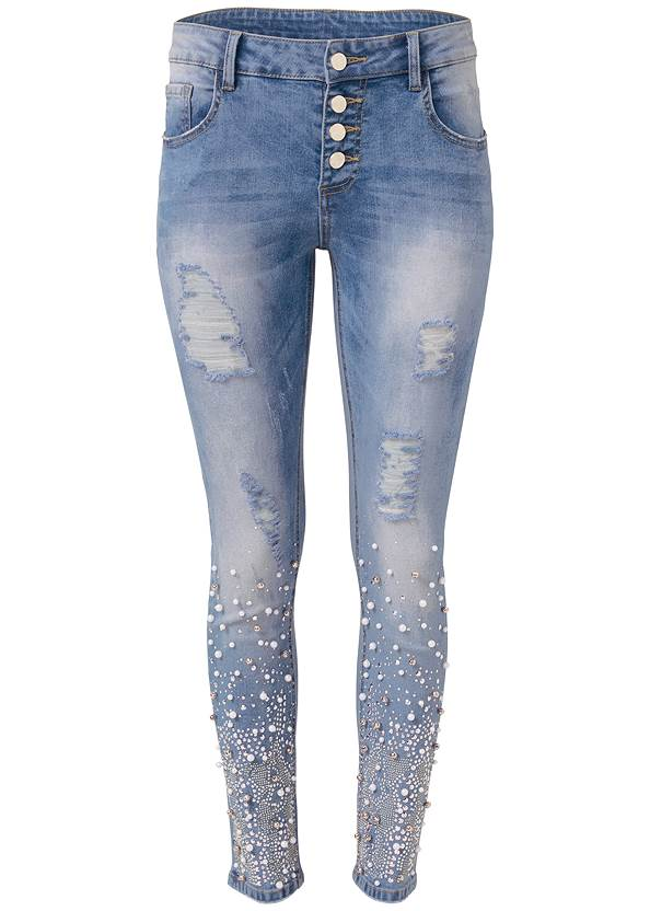 Ghost  view Embellished Ripped Jeans