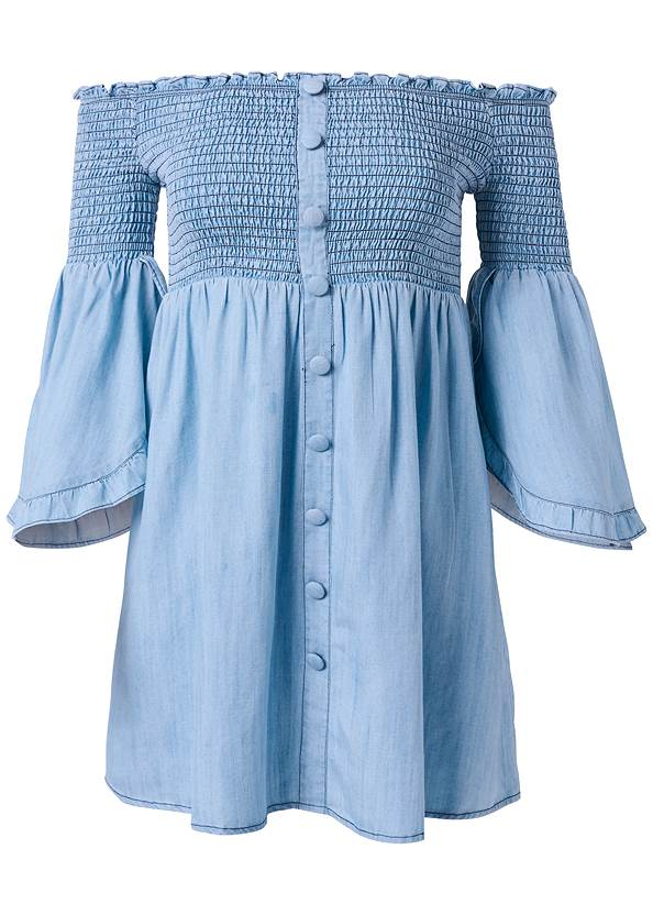 Ghost  view Off Shoulder Chambray Dress
