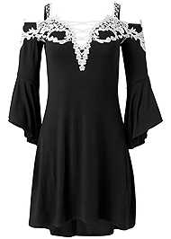 Ghost  view Cold Shoulder Lace Dress