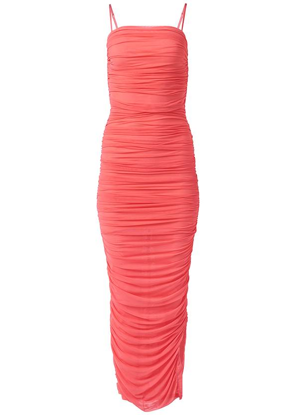 Alternate View Ruched Bodycon  Side Slit Maxi Dress