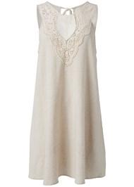 Ghost  view Lace Detail Linen Dress