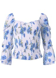 Ghost  view Smocked Floral Print Top