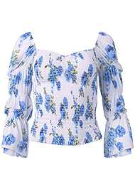 Front View Smocked Floral Print Top