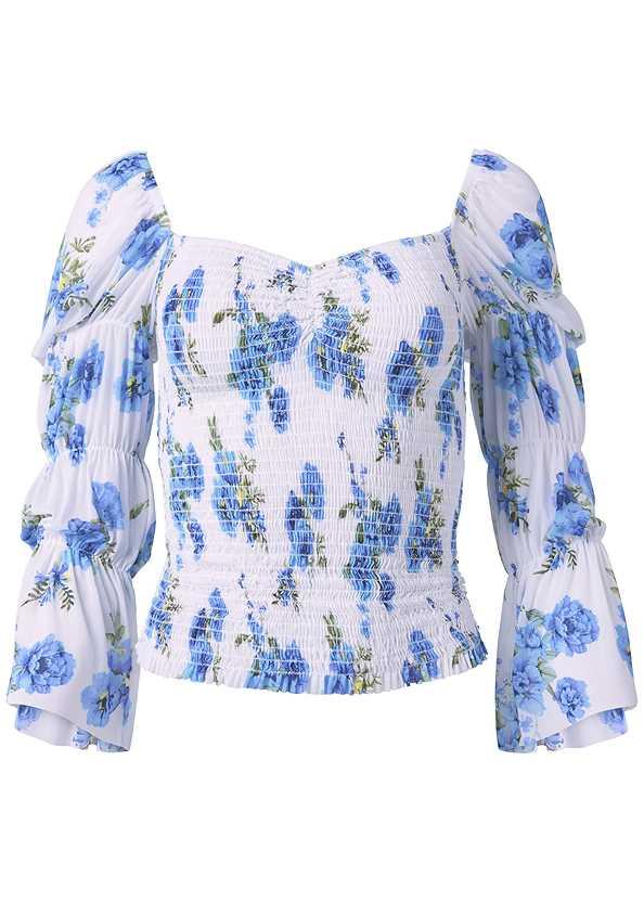 Smocked Floral Print Top,Mid Rise Color Skinny Jeans,Embellished Lucite Heel,Beaded Tassel Earrings