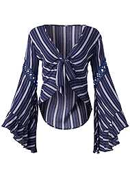 Ghost  view Tie Front Striped Top