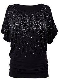 Ghost  view Cold Shoulder Embellished Top