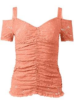 plus size cold shoulder lace top