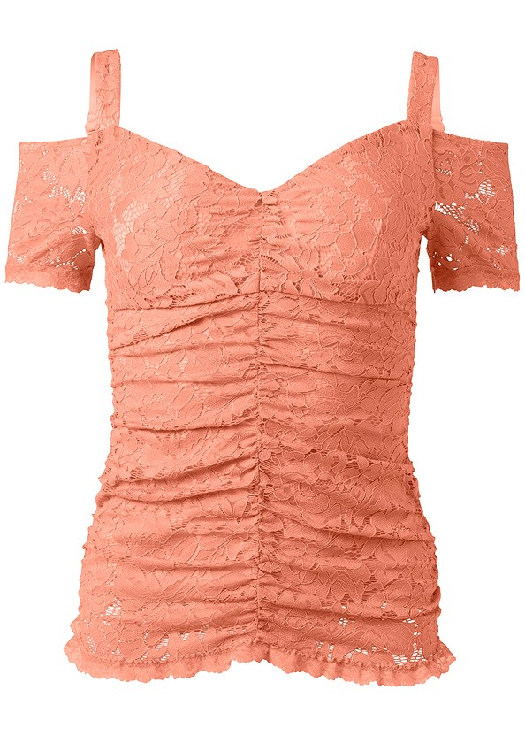Cold Shoulder Lace Top,Triangle Hem Jeans,Studded Strappy Heels,Beaded Hoop Earrings