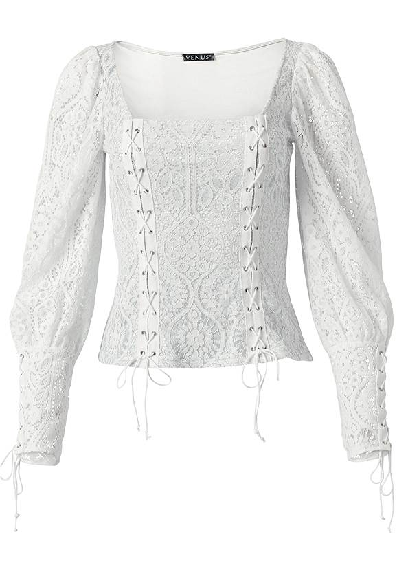 Ghost  view Square Neck Lace Up Top