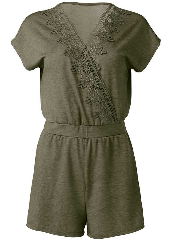 Lace Detail Lounge Romper,Sequin And Straw Tote
