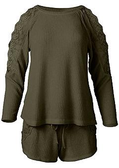 plus size lace detail short set