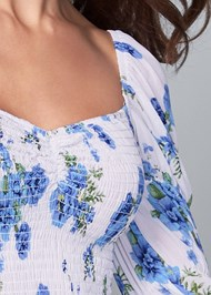 Detail front view Smocked Floral Print Top