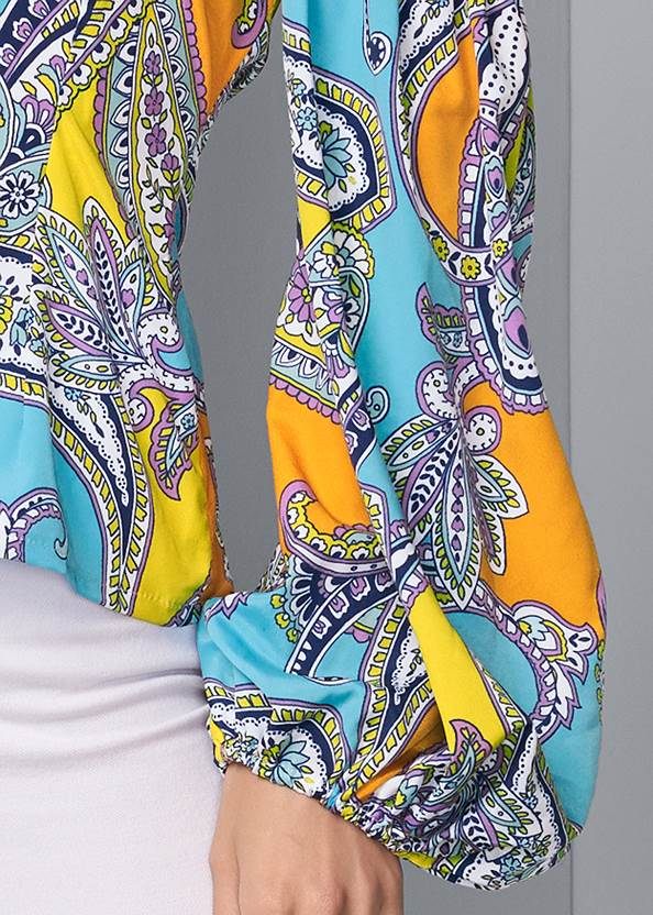 Detail front view Off Shoulder Paisley Top