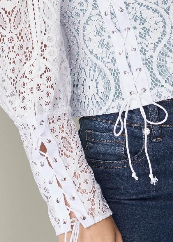 Detail front view Square Neck Lace Up Top