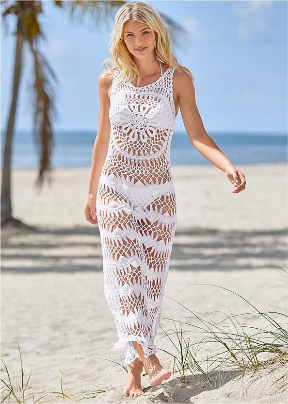 Crochet Maxi Dress Cover-Up,Triangle String Bikini Top,Scoop Front Classic Bikini Bottom ,Low Rise Classic Bikini Bottom ,Strappy Toe Ring Sandals,Color Block Hoop Earrings
