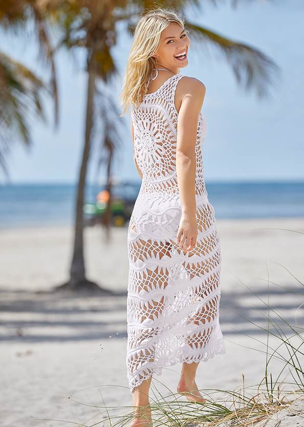 Back View Crochet Maxi Dress Cover-Up