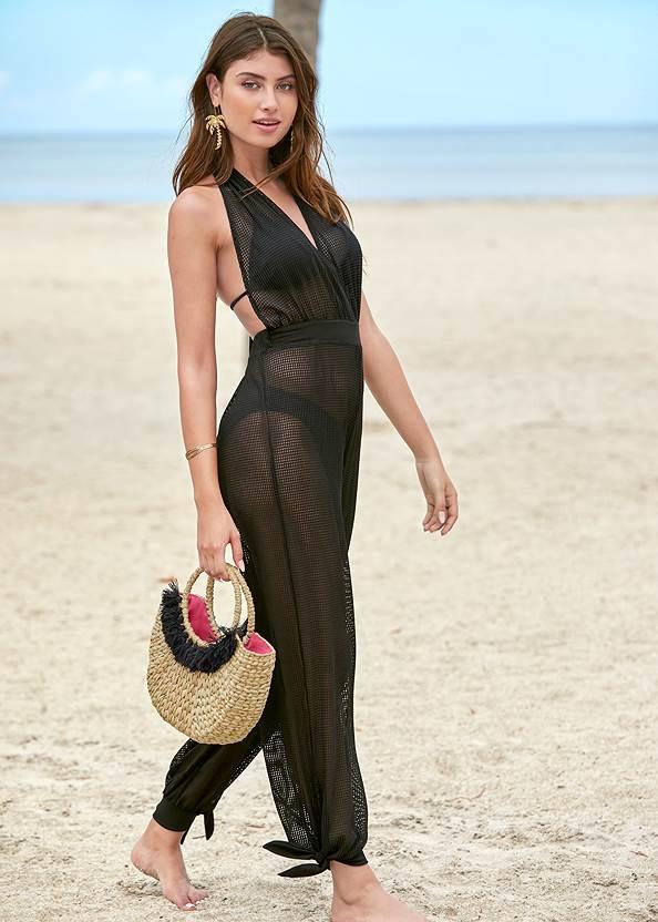 Jersey Fishnet Cover-Up Jumpsuit,Triangle String Bikini Top,Scoop Front Classic Bikini Bottom ,Low Rise Classic Bikini Bottom