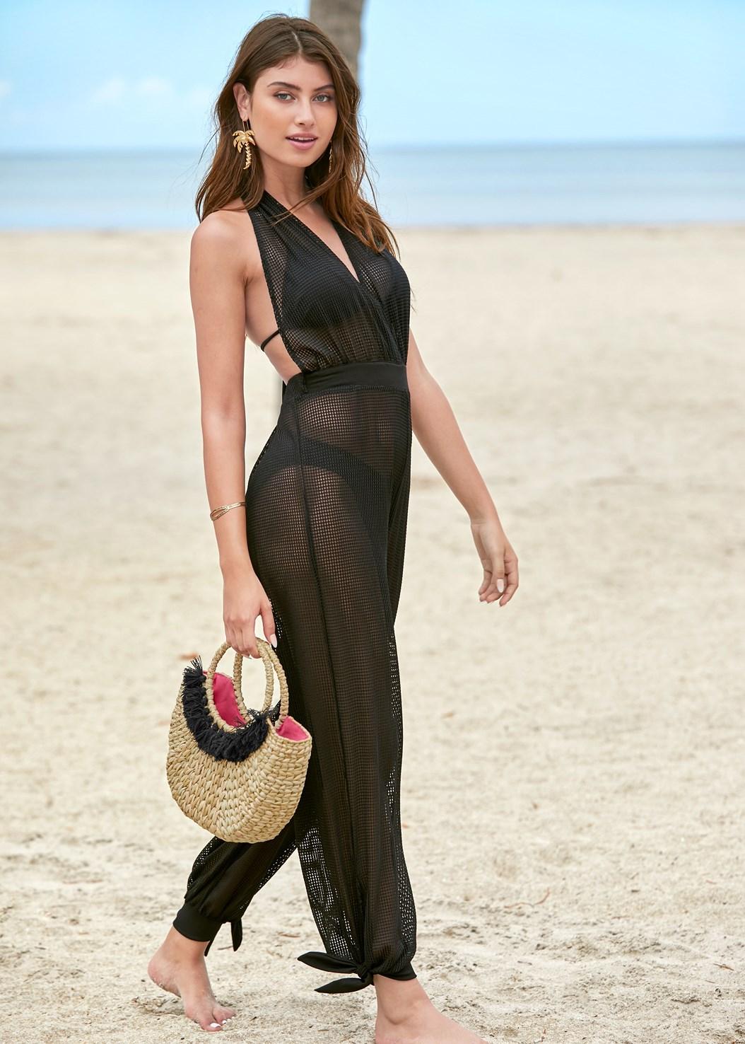Jersey Fishnet Jumpsuit,Triangle Bikini Top,Scoop Front Bikini Bottom,Low Rise Bikini Bottom,Woven Handbag