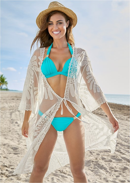 LACE KIMONO COVER-UP,HEAVENLY HALTER TOP,HIGH WAIST BOTTOM,GODDESS ENHANCER PUSH UP,GODDESS LOW RISE BOTTOM